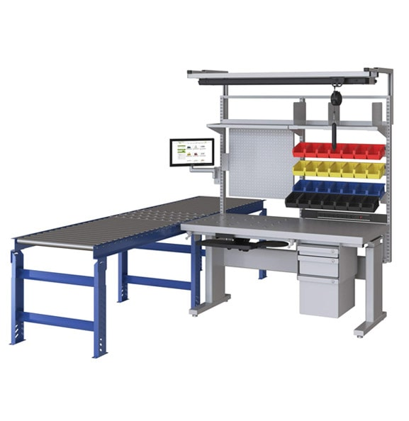 Adjustable Height Workstation with Conveyor